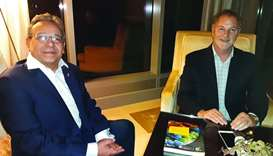 Mayor of Lima, Jorge Munoz Wells (right) with Peru's ambassador to Qatar, Jose A Benzequen Perea.
