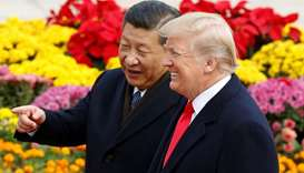 U.S. President Donald Trump and China's President Xi Jinping attend a welcoming ceremony in Beijing,