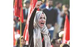 This picture taken on Friday shows a student shouting slogans during a demonstration in Islamabad de