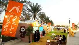 A view of stalls participating in the Qatar Food Fest.