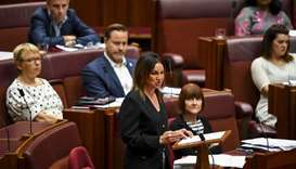 Crossbench Senator Jacqui Lambie speaks during debate in the Senate chamber at Parliament House in C