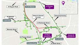 48 hours closure for traffic coming from Al Waab towards Al Rayyan