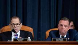 House Judiciary Chairman Jerrold Nadler (L),Democrat of New York, speaks alongside Ranking Member Do