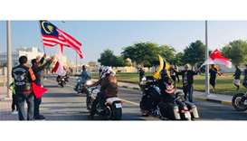 RIDING: Bikers kick-starting their trip from Al Khor.