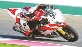 Qatar's Mashel al-Naimi in action during the official practice session for the Qatar Superstock 600