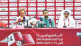 Saudi Arabia coach Herve Renard (left) listens to a question during a press conference on the eve of