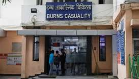 The burns casualty ward of a hospital where a 23-year-old rape victim, who was set ablaze by a gang