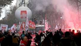 French unionists demonstrate against unemplyoment and precariousness in Paris
