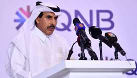 HE the QCB Governor Sheikh Abdulla bin Saoud al-Thani delivering keynote address at the opening sess