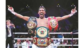 Anthony Joshua celebrates winning his bout against Andy Ruiz Jr. to reclaim IBF, WBA, WBO & IBO Worl