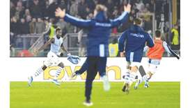 Lazio's Felipe Caicedo (left) celebrates scoring a goal during the Serie A match against Juventus in