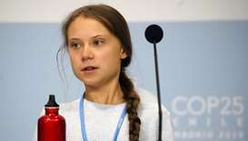 Climate change activist Greta Thunberg attends a news conference during COP25 climate summit in Madr