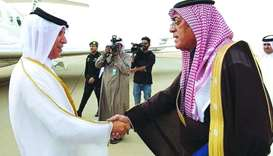HE the Minister of State for Foreign Affairs Sultan bin Saad al-Muraikhi arrives Riyadh