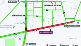 Temporary partial closure on both directions of Al Oqda Street