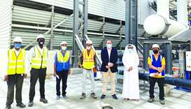 Kahramaa officials during the visit to Al Rayyan Stadium.