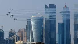 Rehearsal of the airshow ahead of Qatar National Day at Doha Corniche. PICTURES: Jayan Orma