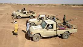 Fighters from a local armed group Gatia, patrol around the town of Menaka, situated between Mali, Ni
