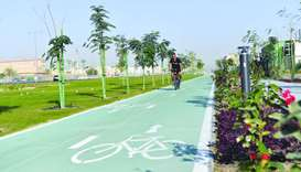 A section of the 5.4km bicycle path on the east side of the new Al Hatim Street in Al Gharrafa Area