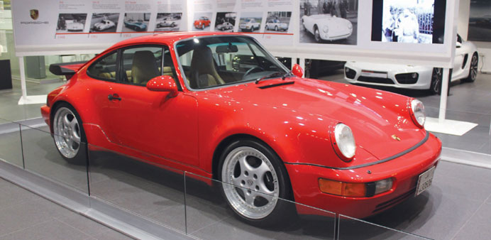 The classic Porsche 964 Carrera on display at Porsche Centre Doha.