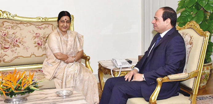 Sushma meets Egypt's Sisi, Arab League chief in Cairo