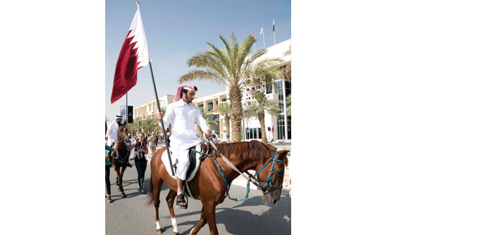 The celebrations started with a horse-led march around the campus.