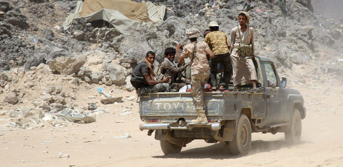 Armed Yemeni tribesmen from the Popular Resistance Committees, supporting forces loyal to President