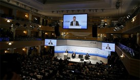 Russian Prime Minister Dmitry Medvedev delivers a speech at the Munich Security Conference in Munich