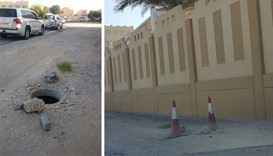 (Left) The uncovered manhole in the Matar Qadeem area, a picture of which was posted on Twitter by a