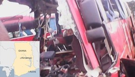 Bus collides with truck in Ghana