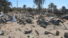 A view shows damage at the scene after an airstrike by US warplanes against Islamic State in Sabrath