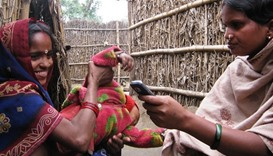 Indian rural women with mobile