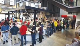 The employee cafeteria of Google's new Canadian engineering headquarters in Kitchener-Waterloo, Onta