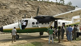 A Tara Air DHC-6 Twin Otter aircraft, similar to one that crashed in Nepal