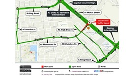 Temporary traffic diversion in Mansoura for sewage works