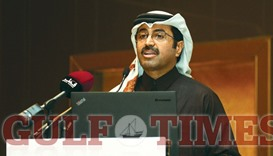 """HE al-Sada addressing the first """"International Arbitration Conference on Energy Disputes"""" yesterday."""