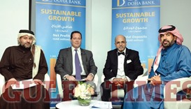 "Doha Bank CEO Dr R Seetharaman and other members of the panel during the seminar ""Growing Opportunit"