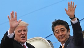 Trump hosts Japan PM, five days before summit with Kim