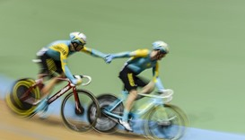 The Kazakhstan team competes in Men's Madison final