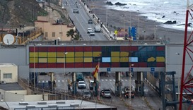 View of the border between the Moroccan city of Fnideq and the tiny Spanish enclave of Ceuta