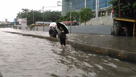 The flooding inundated major roads in parts of Jakarta. Picture courtesy: The Straits Times