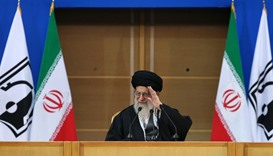 Ayatollah Ali Khamenei attending the sixth international conference in support of Palestinian intifa