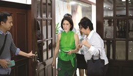 Philippines' Department of Energy and Natural Resources (DENR) Secretary Regina Lopez arriving at he