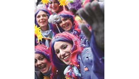 Carnival revellers celebrate the start of the festival yesterday in Duesseldorf, western Germany.