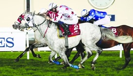 AJS Al Rayyan, ridden by Harry Bentley (foreground) finishes second, behind Majeed, ridden by Olivie