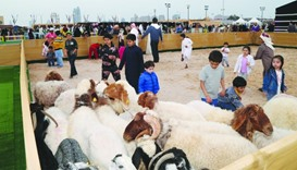 Children petting sheep at the Halal Qatar Festival which opened at Katara. The festival runs until M