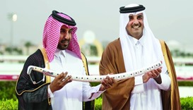 HH The Emir presents the Silver Sword to Al Jeryan Stud representative after AJS Gannas won the race