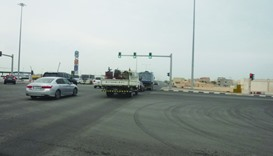Vehicles passing through the newly opened stretch of Al Tarfa street in Duhail.