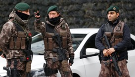 Members of the Turkish police special forces stand guard
