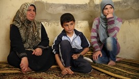 A Syrian refugee family in Lebanon