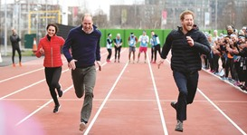 William and Kate put through paces with marathon runners